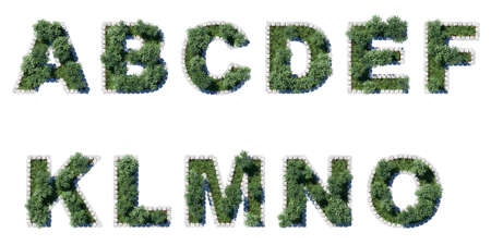 architrave: Green park font with grey cubing border. 11 letters