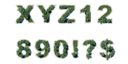 architrave: Green park type set with grey cubing border. letters and numerals