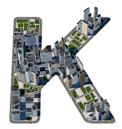 letter k: Urban K letter from city font collection. Extreme detail. Custom made and rendered Stock Photo