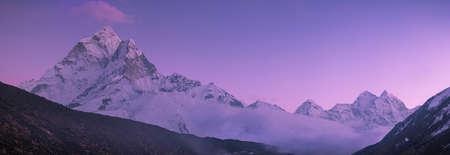 himalayas: Ama Dablam peak and purple sunset in Himalayas  Huge resolution Stock Photo