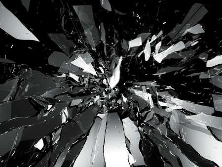 粉々 に砕けたガラスの破片の部分黒に分離 写真素材