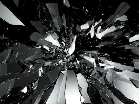 Broken shattered glass pieces isolated on black Stockfoto
