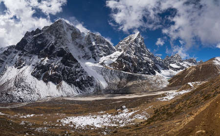 Cholatse peak and Pheriche Valley in Himalayas  Large resolution photo