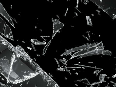 Destructed or Shattered glass isolated over black background photo