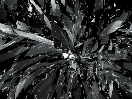 Destructed or Shattered glass isolated over black backgorund photo