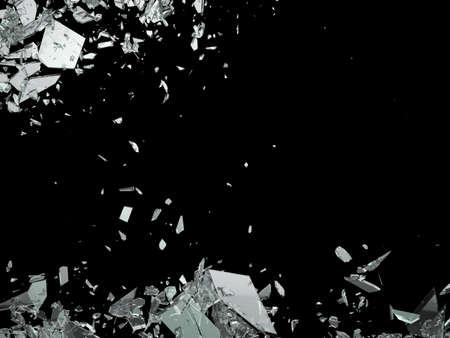 broken glass: Destruction Shattered or demolished glass on black Stock Photo