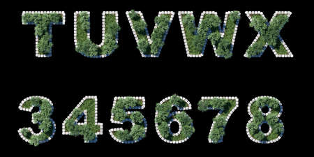 architrave: green garden set with grey cubing border on black  letters and numerals