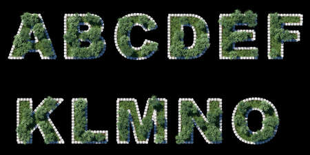 architrave: green park font with grey cubing border on black  11 letters Stock Photo