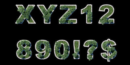 architrave: green park type set with grey cubing border on black  letters and numerals