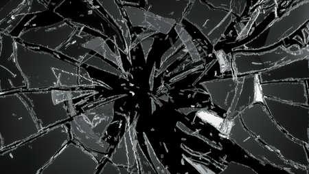 黒で破壊粉砕ガラスの破片