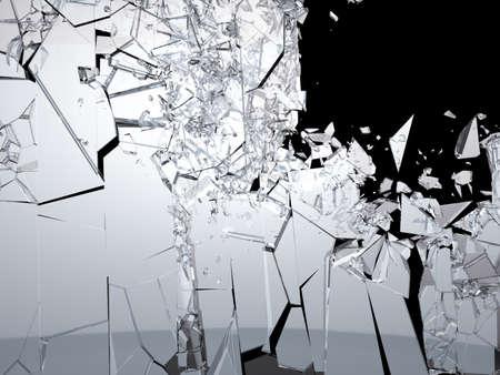 大型を背景の黒に粉々 のガラスの破片