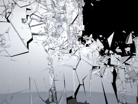 Pieces of Shattered glass on black background  Large size Stock Photo