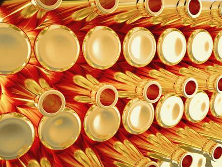 aligote: Storage of many empty golden bottles for wine or brandy  Large size Stock Photo