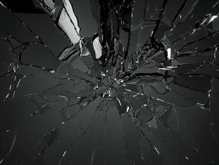 黒の背景に粉々 に砕けたガラスの多くの部分