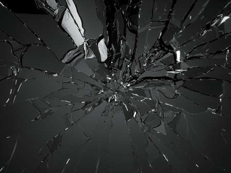 cristal roto: Muchos pedazos de vidrio roto en el fondo negro