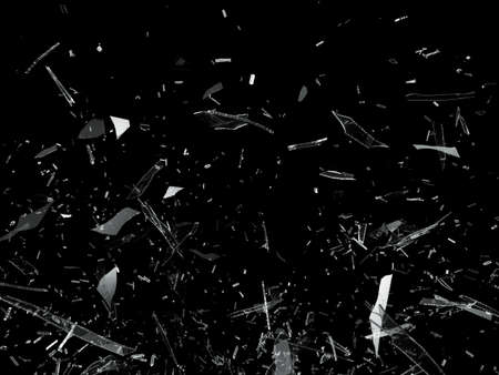 shattered glass: Pieces of Broken Shattered glass on black