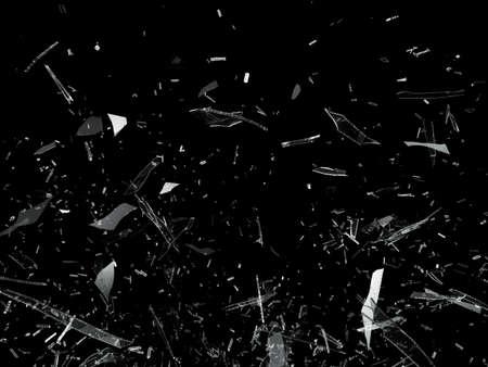Stukken gebroken verbrijzelde glas op zwart