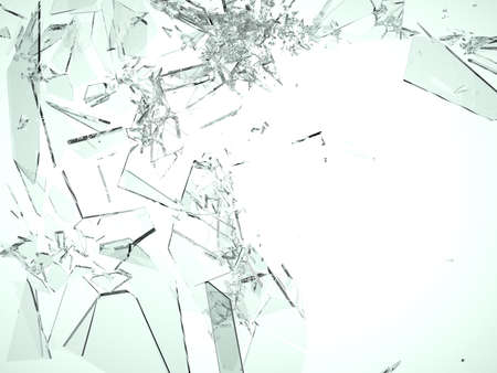 cracked glass: Pieces of demolished or Shattered glass on white isolated  Stock Photo