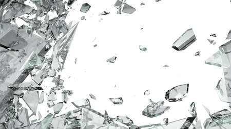 Pieces of shattered glass isolated on white  Large size photo