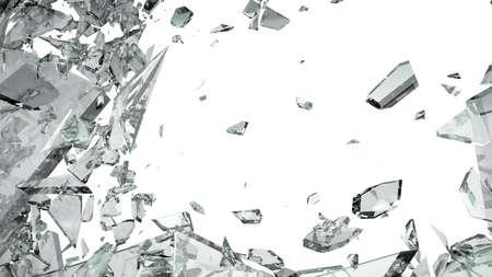 Stukken van gebroken glas geïsoleerd op wit Groot formaat