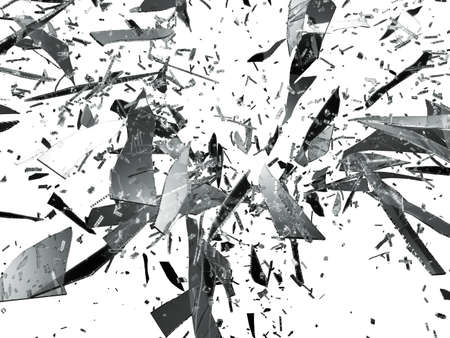 Sharp pieces of smashed glass isolated on white photo