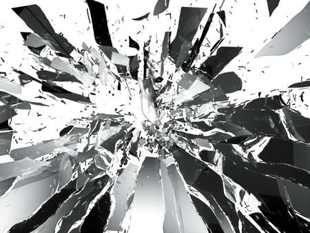 Shattered glass  sharp Pieces isolated on white photo