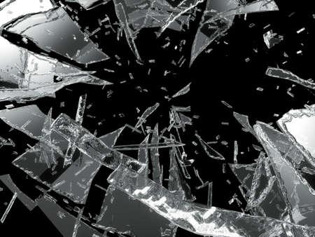 Damaged or broken glass on black background Stockfoto
