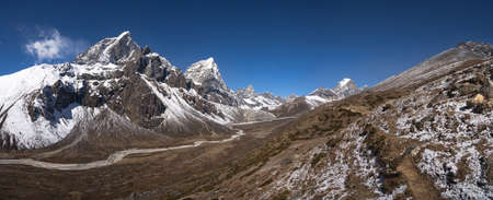 Pheriche Valley with Cholatse and Taboche peaks in Himalaya. Large resolution photo