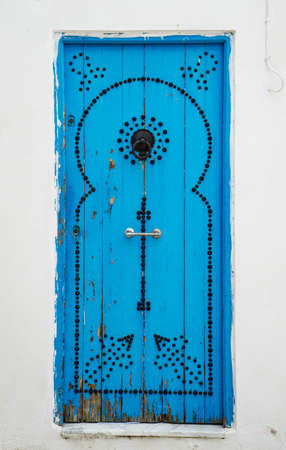 Old Blue door with from Sidi Bou Said in Tunisia. Large resolution photo