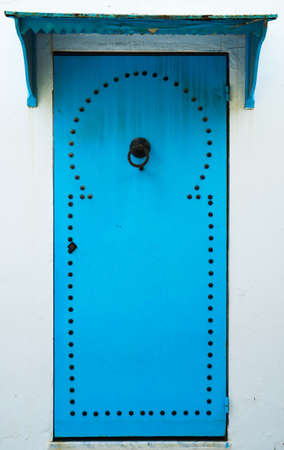 Blue door with pattern from Sidi Bou Said in Tunisia. Large resolution photo