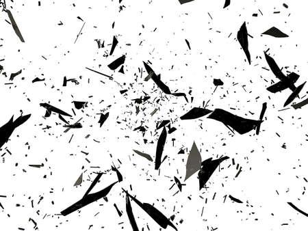 Stukken van destructed of Shattered glas op wit Stockfoto