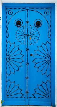 Traditional door from Sidi Bou Said in Tunisia. Large resolution photo