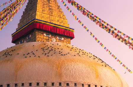 bodnath: Eyes of Buddha on Boudhanath stupa in Kathmandu  Captured in Nepal