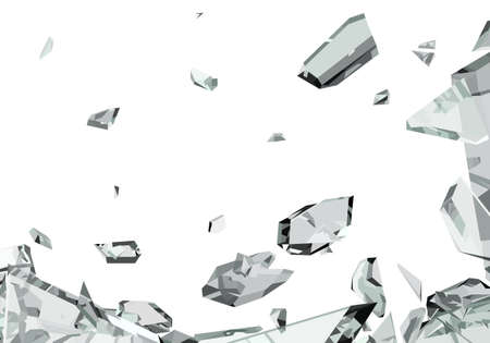 Pieces of demolished or Shattered glass isolated on white photo