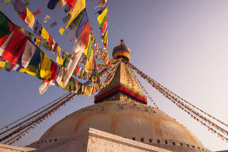bodnath: Prayer flags and Boudhanath stupa in Kathmandu. buddhism and religion