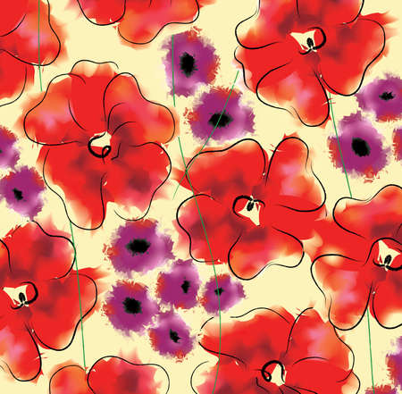 large size: Adonis and gloxinia floral pattern. Large size