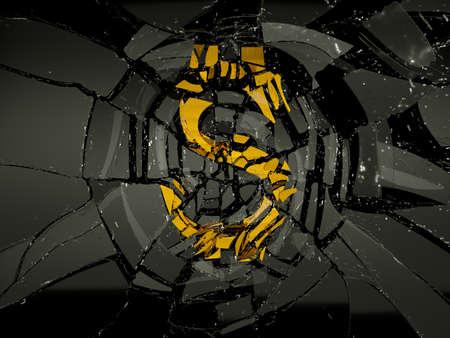 devaluation: Glass and golden US dollar symbol shattered. Financial crisis