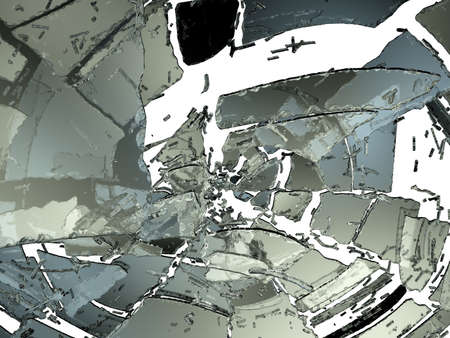 destructed: Pieces of Destructed or Shattered glass on white. Large resolution