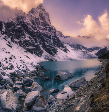 Sunset in the Himalaya mountains. Panorama. Travel to Nepal photo