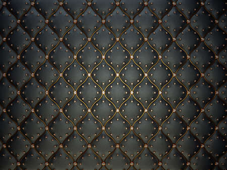 Zwart leder patroon met gouden draad en edelstenen. Gestoten achtergrond