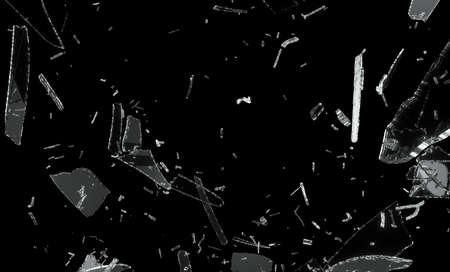 sklo: Shattered a rozdělených skleněných figurek izolované na černém