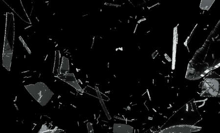 broken glass: Shattered and splitted glass Pieces isolated on black