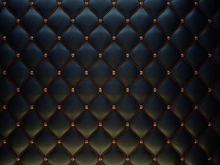 leather stitch: Black leather pattern with golden wire and diamonds. Bumped background