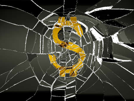 recession: Broken US dollar symbol and shattered glass. Decline and recession Stock Photo