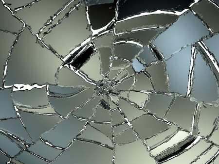 shattered glass: Cracked and Splitted glass on white. Large resolution Stock Photo