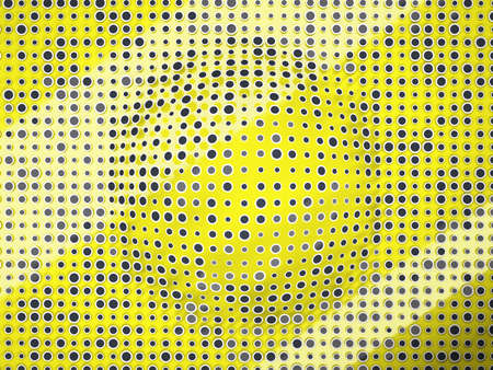 salience: Polka dots pattern with black circles and bump on yellow. Creative background