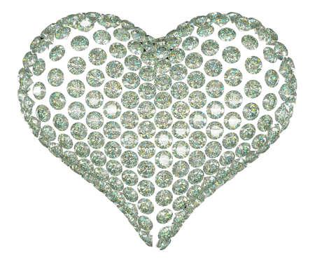 coeur diamant: Coeur de diamant de forme ou d'un ensemble de pierres précieuses isolé sur blanc