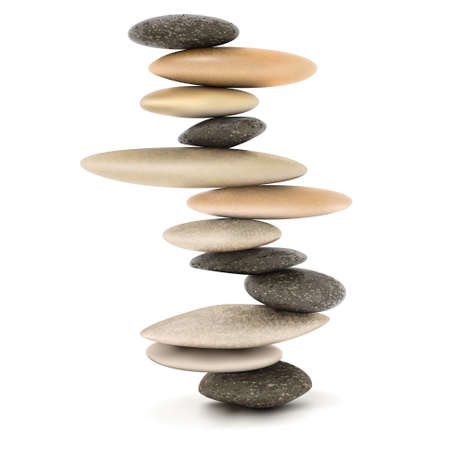 Stability and Zen Balanced stone tower vector illustration