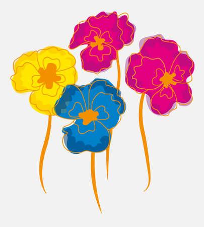 cyclamen: Pansies or  Indian cress postcard flowers. Useful as pattern