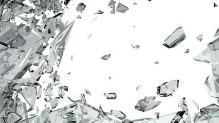 Scherpe stukjes gebroken glas op wit